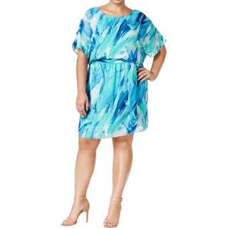 SLNY Womens Plus Casual Dress Chiffon Printed