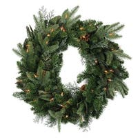 "24"" Pre-Lit Mixed Winter Foliage and Pine Cones Artificial Christmas Wreath - Clear Lights"