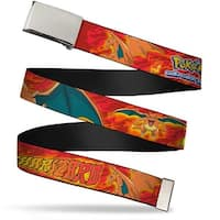 Blank Chrome  Buckle Pokemon Charizard Poses Flames Reds Webbing Web Belt - S