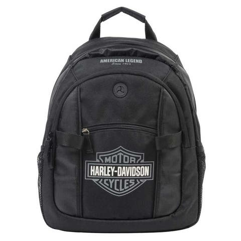 "Harley-Davidson Bar & Shield Day Backpack, Gray Logo, Black BP1968S-GRYBLK - 12.25"" x 15"" x 5.75"""