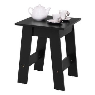 Costway Modern Wood End Table Accent Coffee Table Simple Design Side Desk  Table Black