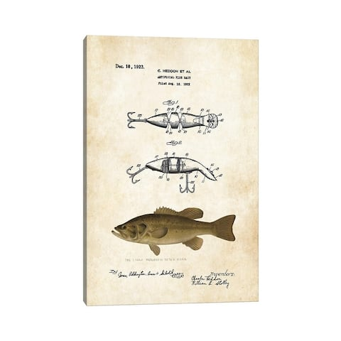"""iCanvas """"Largemouth Bass Fishing Lure"""" by Patent77 Canvas Print"""