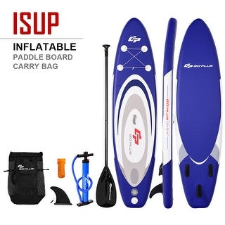 Goplus 10' Inflatable Stand up Paddle Board Surfboard SUP W/ Bag Adjustable Paddle Fin - blue + white