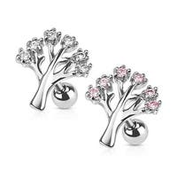 Gemmed Tree 316L Surgical Steel Cartilage/Tragus Barbell (Sold Ind.)
