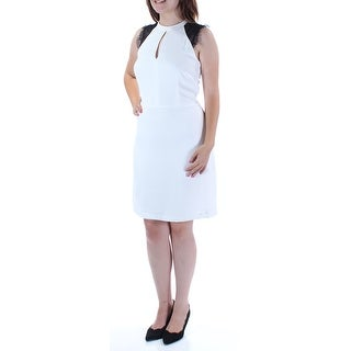 MICHAEL KORS $175 Womens New 1530 Ivory Black Lace Fit + Flare Dress 4 B+B