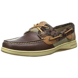 Sperry Womens Bluefish Mixed Media Animal Print Boat Shoes