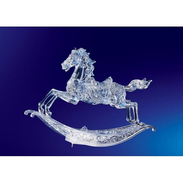 """Pack of 2 Icy Crystal Musical Christmas Rocking Horses 10.5"""" - CLEAR"""