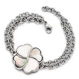 Chisel Stainless Steel Polished Black/White Mother of Pearl with .75 inch Extension Bracelet