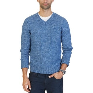 Nautica Mens Pullover Sweater V-Neck Multi-Textured