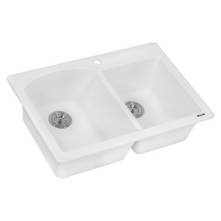 "Ruvati RVG1344  epiGranite 33"" Undermount Double Basin Granite Composite Kitchen Sink with Sound Dampening"
