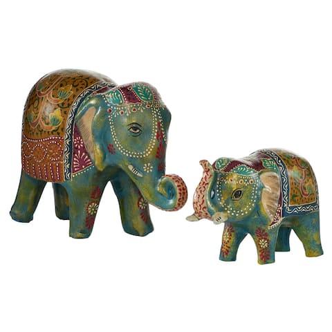 Indian Elephant Figurines Table Decor, Set of 2 - 15 x 6 x 10