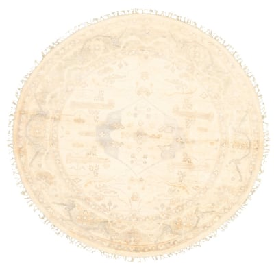 ECARPETGALLERY Hand-knotted Royal Ushak Cream Wool Rug - 5'10 x 5'10