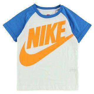 Nike Boys Alumni Raglan T Shirt White - white/blue/orange