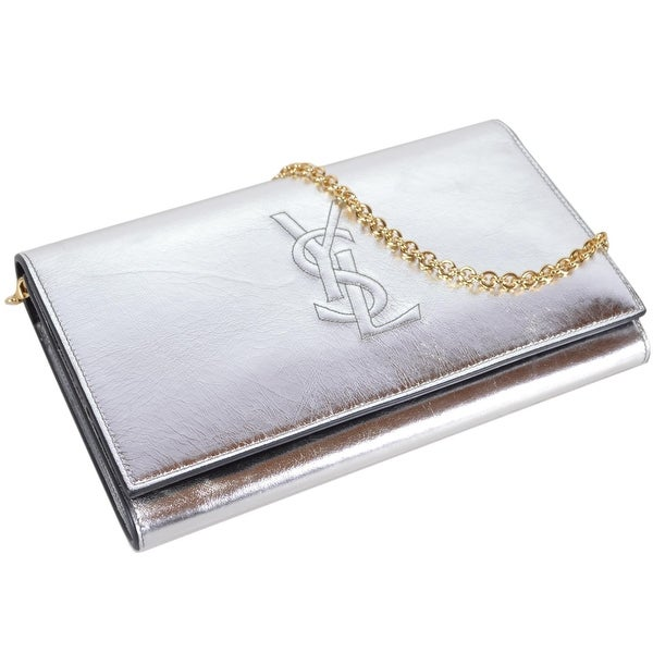 Saint Laurent YSL Silver Leather Belle de Jour Crossbody Wallet Purse Bag