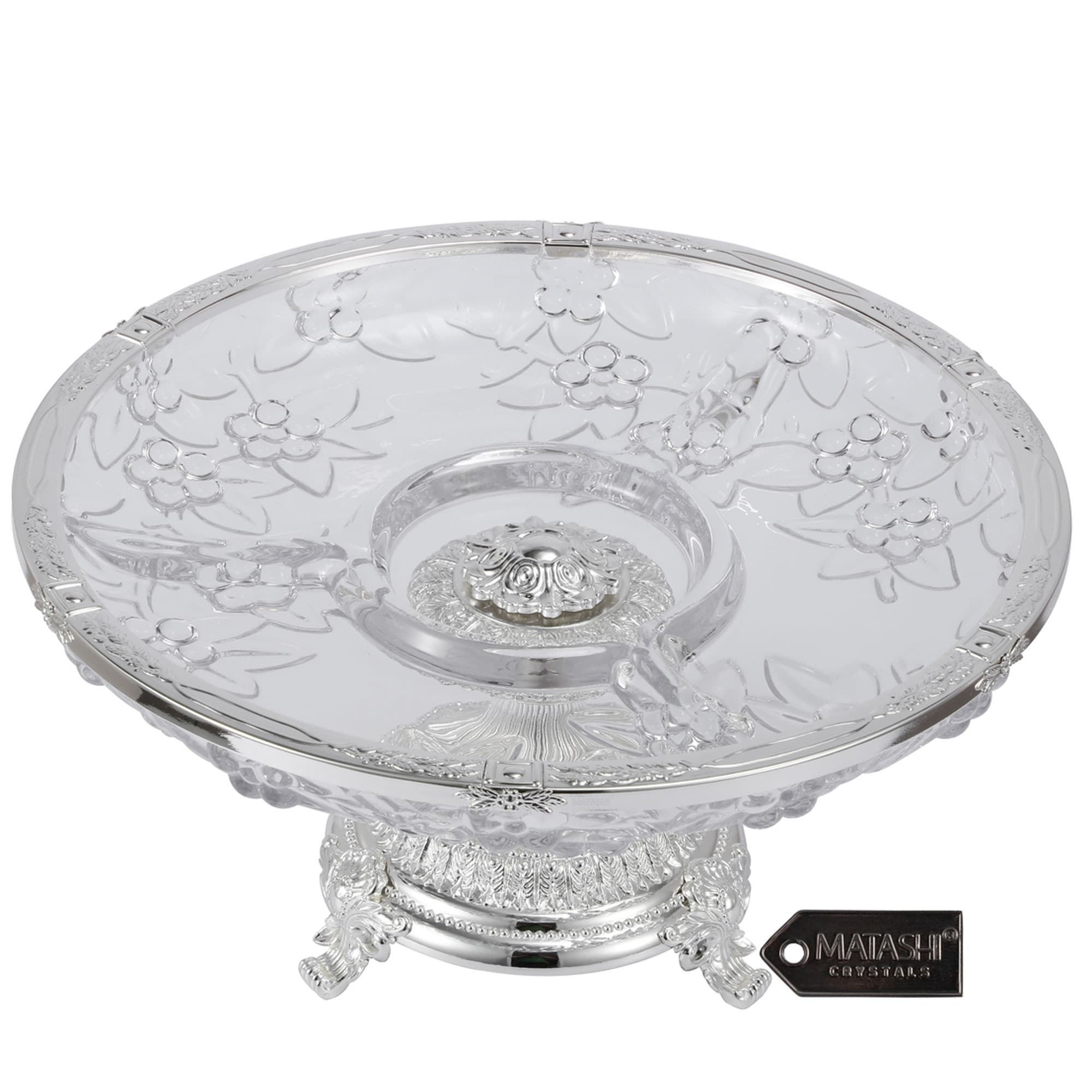 Matashi Crystal 3 Sectional Centerpiece Decorative Bowl Round Serving Platter With Silver Plated Pedestal Base For Weddings Overstock 32531027