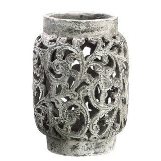 "13"" Antique-Style Distressed Paisley Hurricane Candle Holder"
