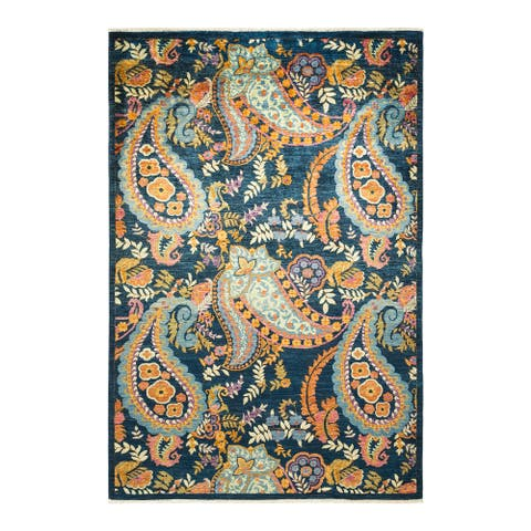 """Suzani, One-of-a-Kind Hand-Knotted Area Rug - Blue, 6' 2"""" x 9' 0"""" - 6' 2"""" x 9' 0"""""""
