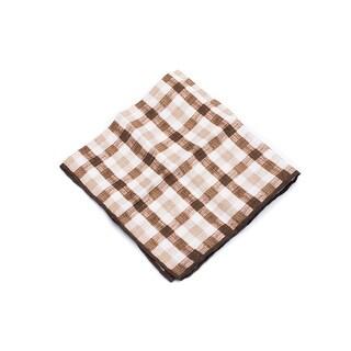 Brunello Cucinelli Men's Two Tone Brown Linen Pocket Square
