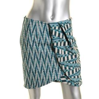 Ronny Kobo Womens Lilo Printed Asymmetric Mini Skirt - S