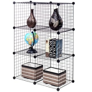 Gymax 6 Cube Grid Wire Organizer Wardrobe Shelves Bookcase DIY