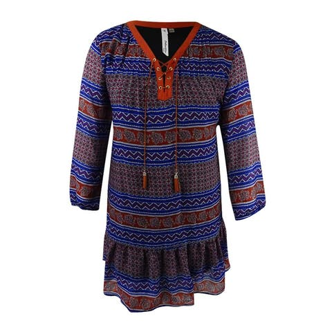 Ny Collection Women's Petite Lace-Up Printed Peasant Dress (PL, Blue Wilder) - Blue Wilder - PL