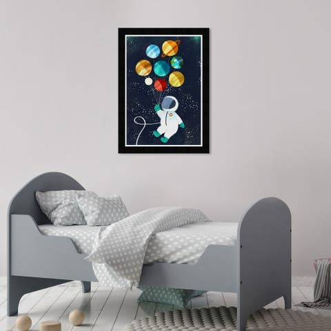 Olivia's Easel 'Space Kid' Kids Wall Art Framed Print Black, Yellow