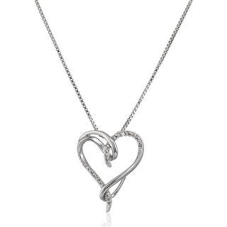 1 10 Ct Diamond Interlocking Heart Pendant In Sterling Silver