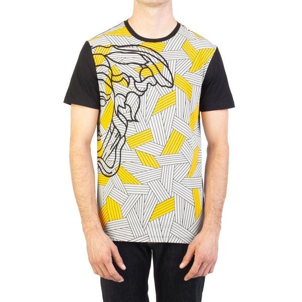 adeb3390 Versace Collection Men's Cotton Geometric Medusa Graphic T-Shirt Black