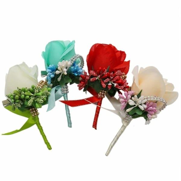 Shop Ids Set Of 4 Silk Rose Boutonniere Corsage Classic Artificial