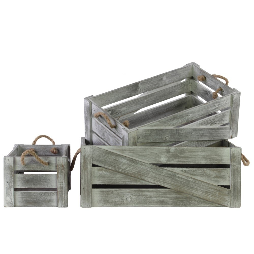 Wood Rectangle Crate with 2 Rope Handles, Set of Three, Weathered Gray