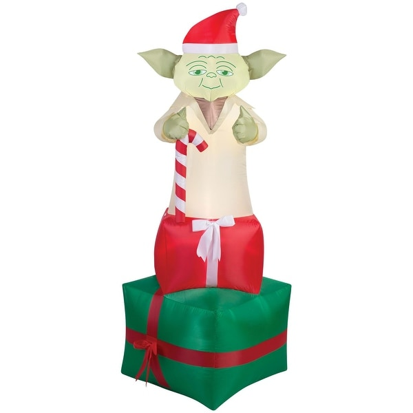 star wars yoda holiday airblown inflatable multi red green white - Star Wars Inflatable Christmas Decorations