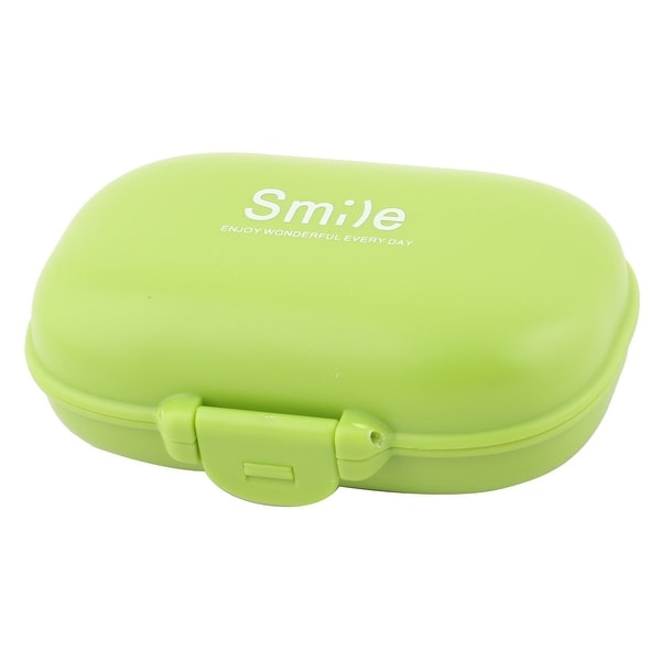 Home Travel Plastic 4 Slots Medicine Pill Capsule Storage Box Organizer Green