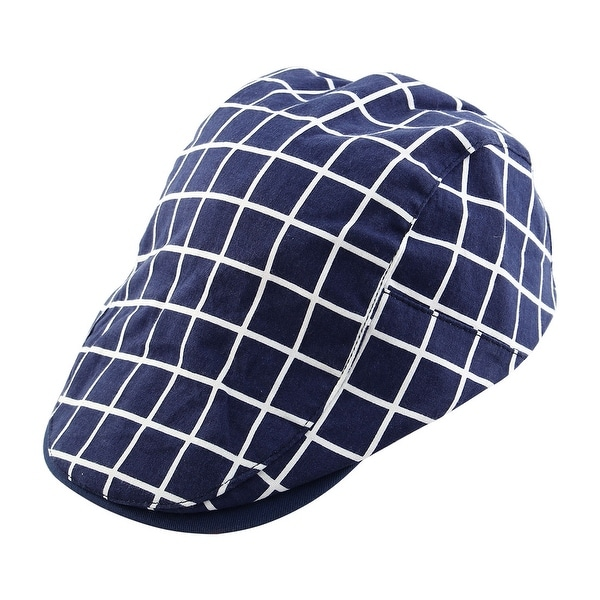 Plaid Pattern Newsboy Duckbill Ivy Cap Traveling Driving Flat Beret Hat Blue cc93d834dc2