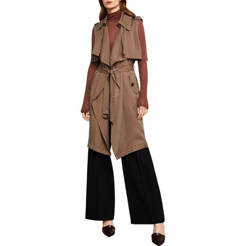 BCBG Max Azria Womens Brielle Trench Coat Spring Ruffled