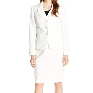 Le Suit NEW White Women's Size 6 Three-Button Texture Skirt Suit Set