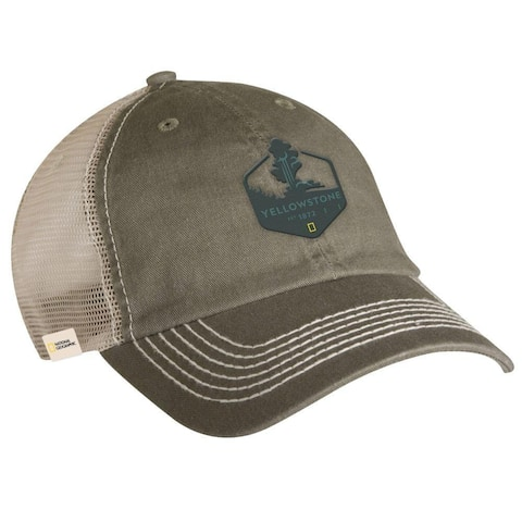 National Geographic Yellowstone Adult Trucker Hat Grey One Size