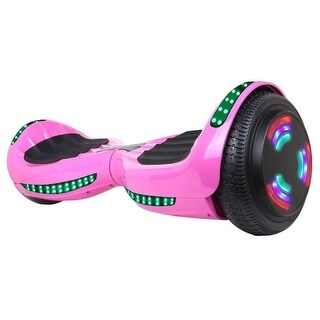 "Flash Wheel UL 2272 Certified Hoverboard 6.5"" Bluetooth Speaker with LED Light Self Balancing Electric Scooter Pink"