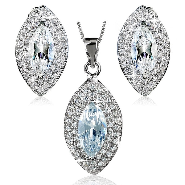 "Sterling Silver Marquise Cubic Zirconia Earrings and Necklace 18"" Set"