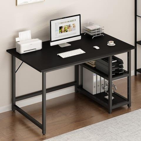 Nestfair Home Office Computer Study Desk with Reversible 2 Tiers Storage Shelves
