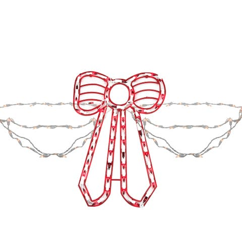 155-Count Red and White Swag Style Christmas Lights with Shimmering Bow, 6ft White Wire
