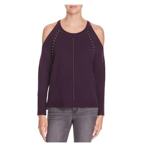 RAMY BROOK Womens New 1456 Purple Cut Out Beaded Long Sleeve Sweater M