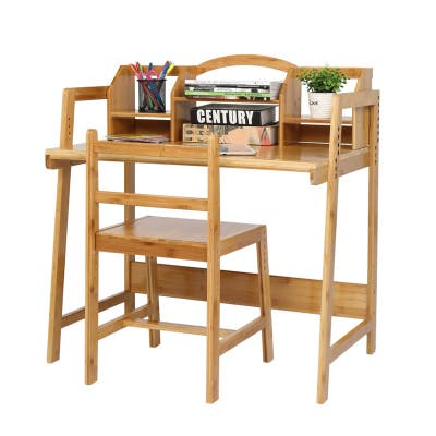 Adjustable Height Bamboo Study Desk And Chair With Bookshelf