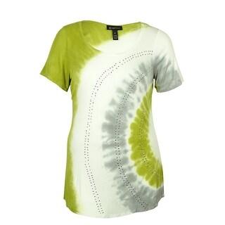 INC International Concepts Women's Tie-Dye T-Shirt - Black/Cement - pxs