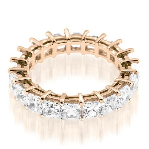 3.50 cttw. 14K Rose Gold Exquisite Princess Basket Set Diamond Eternity Ring