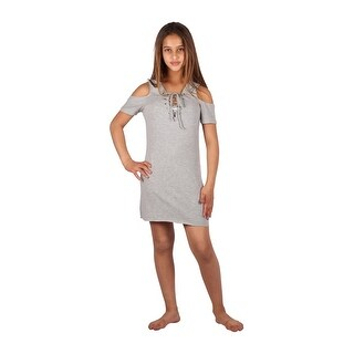 Lori & Jane Girls Gray Cold Shoulder Summer Casual Dress