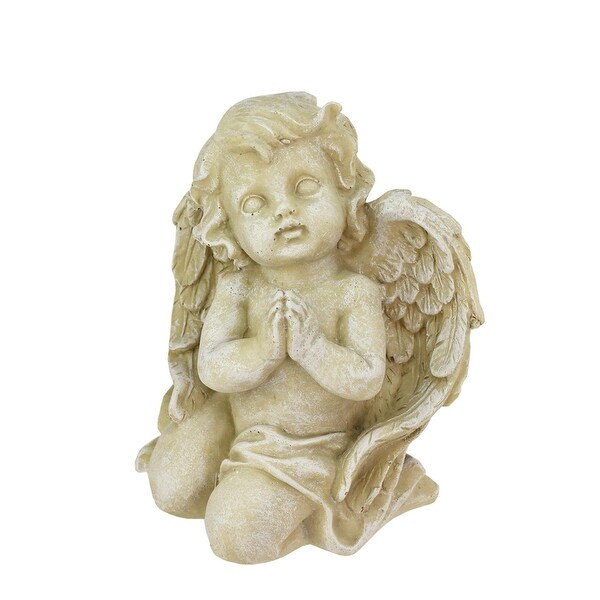 "6"" Heavenly Gardens Distressed Almond Brown Praying Cherub Angel Outdoor Patio Garden Statue"