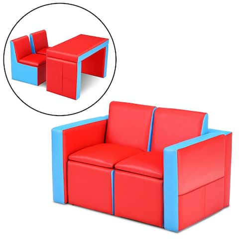 Gymax Multi-functional Kids Sofa Table Chair Set Couch Storage Box