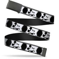 Blank Black Bo Buckle Mickey Standing Pose Film Strip White Black Web Belt
