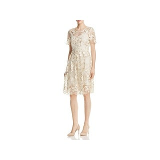 T Tahari Womens Cocktail Dress Floral Embroidered