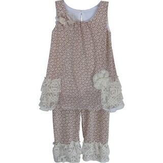 Isobella & Chloe Baby Girls Mauve Dainty Daisy Two Piece Pant Set 12M-24M